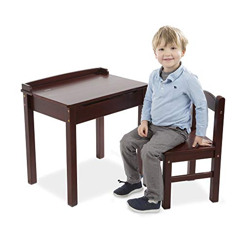 "Melissa & Doug Child's Lift-Top Desk & Chair (Kids Furniture, Espresso, 2 Pieces, 16.1"" H x 23.6"" W x 23.2"" L)"