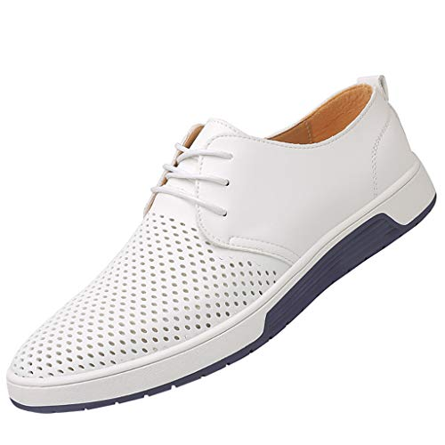 COPPEN Men Leather Shoes Fashion Breathable Casual Round