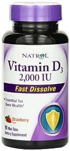 Natrol Vitamin D3 2000iu Mini Tabs, Strawberry, 90 Count