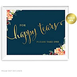 Andaz Press Wedding Party Signs, Navy Blue Burgundy Florals with Metallic Gold Ink, 8.5x11-inch, For Happy Tears Tissue Kleenex Ceremony Sign, 1-Pack, Colored Fall Autumn Decorations