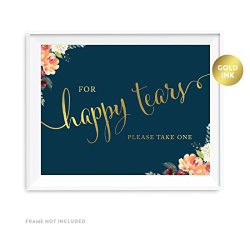 Andaz Press Wedding Party Signs, Navy Blue Burgundy Florals with Metallic Gold Ink, 8.5x11-inch, For Happy Tears Tissue Kleenex Ceremony Sign, 1-Pack, Colored Fall Autumn Decorations ()