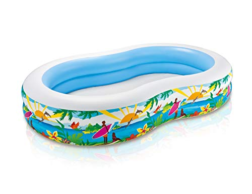 Kids-Inflatable-Pool. This Small Portable Kiddie Blow Up Above Ground Swimming Pool is Great for Children, Toddlers to Have Outdoor Water Fun with Floats, Toys. Paradise Lagoon Lounge. - Lagoon Inflatable Water