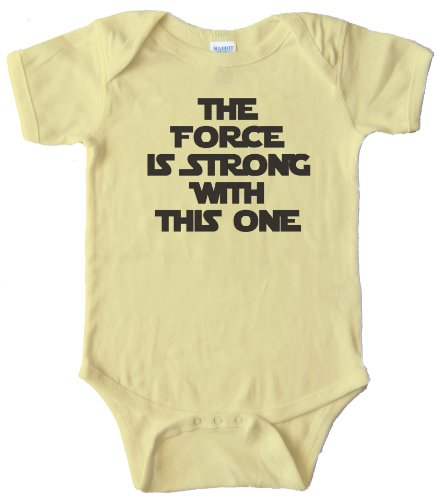 THE FORCE IS STRONG WITH THIS ONE - - BABY ONESIE - Light Yellow NEW BORN