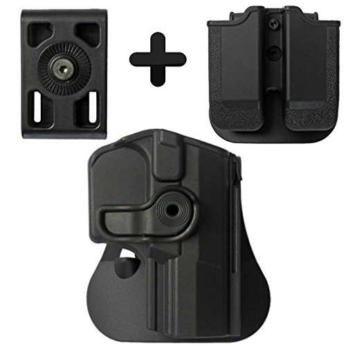 (IMI Defense Z1420 Tactical Combo Kit Roto Retention Paddle Holster + Double Magazine Pouch + Belt Holster Attachment For Walther M1 (PPQ Classic 9/.40), M2, Navy SD, P99Q Pistol Handgun)