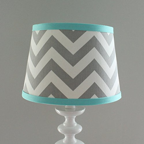 Gray aqua Chevron Nursery Lamp Shade