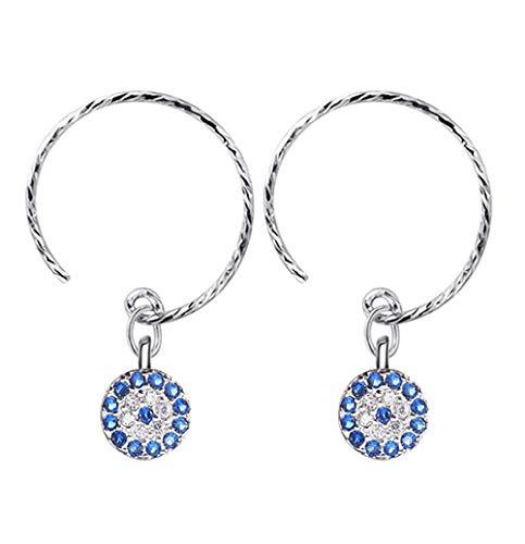 925 Silver Turkish Round Devil's Evil Eye Earrings Lucky Blue Lucky Eye CZ Crystal Stud Line Earring for Women Wedding Jewelry ()