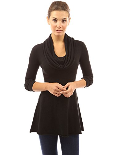PattyBoutik Women Cowl Neck A-Line Tunic Sweater (Black Medium)