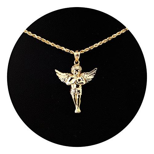 Angel Pendant (LoveBling 10K Yellow Gold High Polish Praying Angel Charm Pendant (1.40