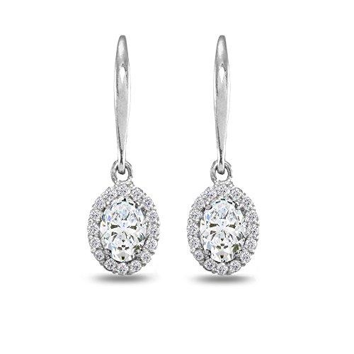 Sterling Silver Cubic Zirconia Dainty Oval Dangle Halo Leverback Earrings ()