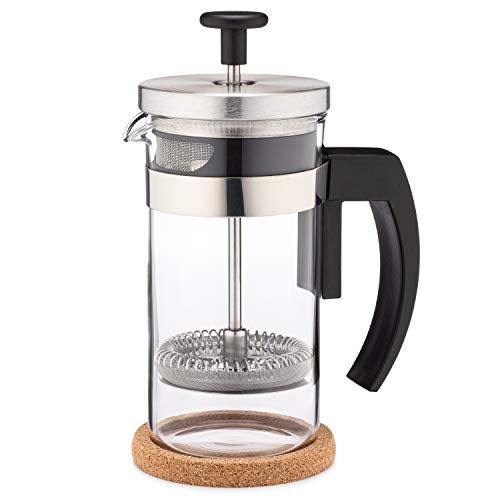 Brillante Small French Press Coffee Maker with 12 Ounce Glass Beaker – Single Serve Cafetiere and Tea Maker BR-CP1-350