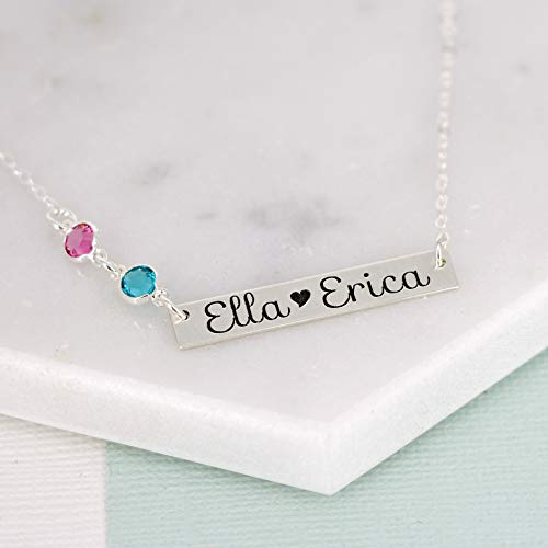 Personalized Bar Necklace with Birthstone Crystals by Wickedly Mod 1 2 3 Names Gift for Mom, Sister, Grandma Gold or Silver