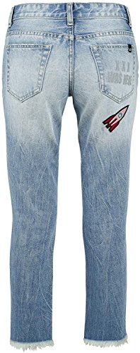 Fashion Victim Destroyed Patch Jeans Vaqueros Mujer Azul Azul