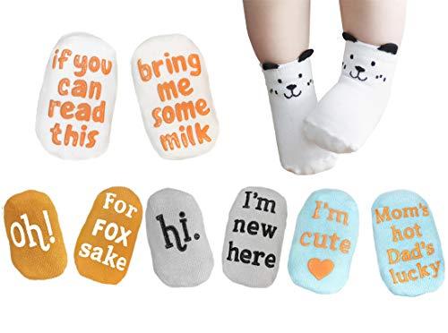 Land of Luna Unique Baby Shower Gift Set 4 Pairs Baby Newborn Socks 0-12 months Non Slip Unisex Anti-skid Quote Socks
