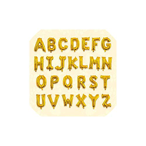 16 32inch Letter Love Balloon Aluminum Foil Helium/Air Alphabet Inflatable Float Flying Globes Birthday Party Wedding Decoration,Gold,E,16inch Air Filling