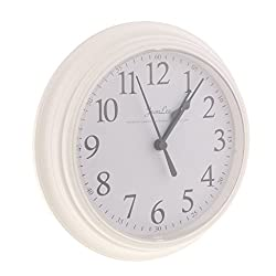 Homyl 9 inch Silent Universal Round Wall Clock - AA Battery Operated - Colorful Analog Clock Great for Home Office Classroom or Garage - White