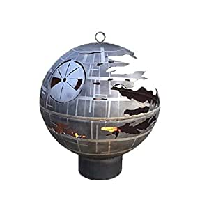 Custom Designed Death Star Fire Pit (37.5 Inch Diameter, Grey + Lines)