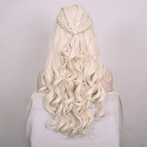 (DEYSSNE Daenerys Targaryen Anime Cosplay Wig Synthetic Hair Long Wavy Dragon of Mother Wigs Halloween Party Costume for)