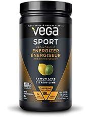 Vega Sport Pre-Workout Energizer Lemon Lime (30 Servings, 550g) - Vegan, Gluten Free, All Natural, Pre Workout Powder, Non GMO