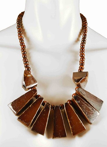 Pyramid Style Brown Pendant Necklace, Wooden Costume Jewellery (Junk Mail Costume)