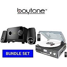 BOYTONE PREMUIM SOUND SYSTEM BUNDLE SET, Turntable Plus 2.1 multimedia Bluetooth speaker (BT-17DJB-C & BT-3129F)