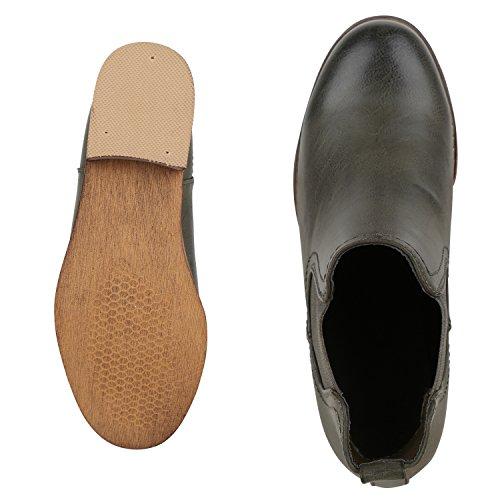 Boots Optik 36 Leder fashion Dunkelgrün napoli Schuhe Jennika Chelsea Flache 41 Gr Stiefeletten Damen Fwp0Xq