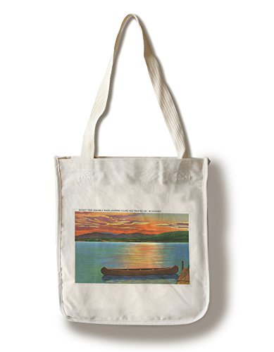 Lake George, NY - Assembly Point Sunset View of Diamond Island, Prospect Mt (100% Cotton Tote Bag - Reusable, Gussets, Made in - In Shopping Ny George Lake
