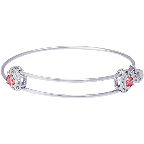 Rembrandt Charms, July Insightful Bangle Charm Bracelet, .925 Sterling Silver, Swarovski Cut Cubic Zirconia (Charm July Rembrandt)