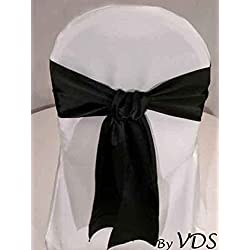 VDS Set of 100 Elegant Satin Wedding Chair Sashes Bows for Wedding Party Banquet Decor - Ribbon Tie Back Sash Bow – Black