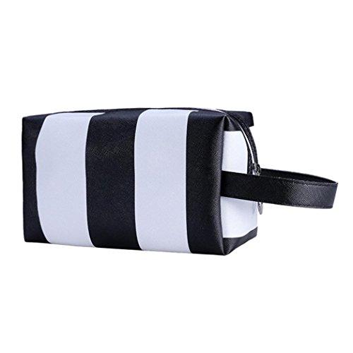 [Hatop Fashionable Portable Stripe Cosmetic Bag Travel Toiletry Bag Organizer (Black)] (Replica Makeup)