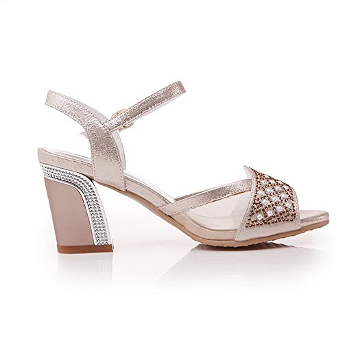 Pu High Sandals Womens AmoonyFashion Solid Gold Heels Toe Open Buckle a1xZHY