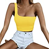 2019 Sexy Women's Single Shoulder Crop Top Sport Bra Slim Camis Vest Blouse (Yellow, S)