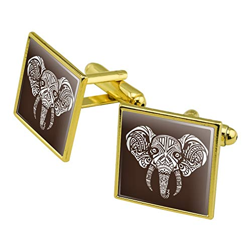 GRAPHICS & MORE White African Elephant Tribal Square Cufflink Set Gold Color