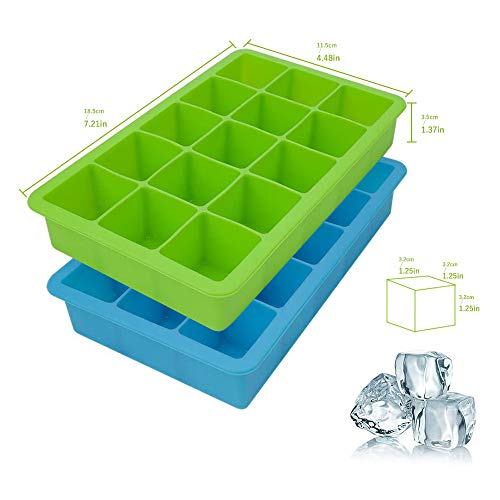 Ice Cube Trays, 2 Packs Silicone Ice Cube Tray FDA Approved Food Grade Ice Molds, 15 Cubs per Tray Best for Whiskey, Cocktail and Any Drink UK Delivery (Green and Blue)
