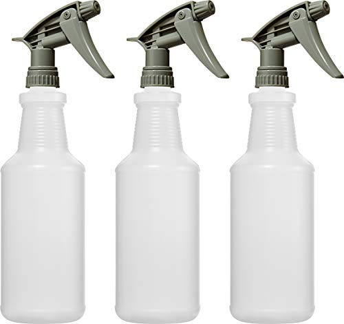 Bar5F Empty Plastic Spray Bottles 32 oz, Chemical Resistant, Professional, Heavy Duty, Fully Adjustable Head Sprayer, Pack of 3 (Grey)