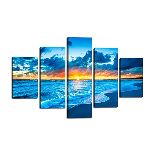 Large Painting on Canvas Navy Blue Beach Ocean Yellow Sunrise View Modern Landscape Wall Art 5 Pieces Seaside Posters and Prints Pictures Artwork for Living Room Bedroom Home Decor Framed(60''Wx40''H)