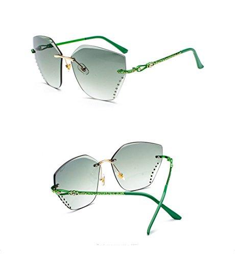 MUJER moda MUJER cerco cuadrado DESESHENME HOMBRE de de borde Gafas bronce Green VARÓN Sombras gafas lentes de sol corte de Sin 0w5wZqO