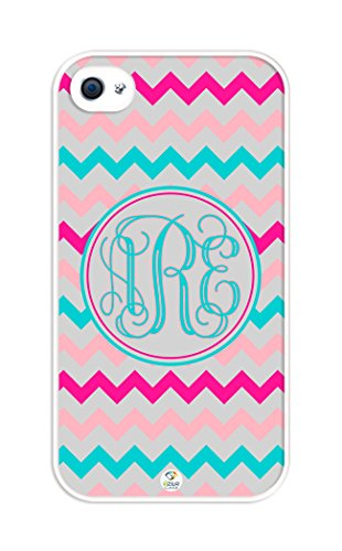 iZERCASE Monogram Personalized Shades of Pink and Turquoise Chevron Pattern rubber iphone 4 case - Fits iphone 4 & iphone 4s T-Mobile, Verizon, AT&T, Sprint and International (White) (Turquoise Chevron Iphone 4 Case)