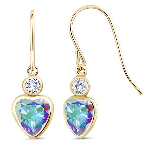 (14K Yellow Gold Dangle Earrings Heart Shape Mercury Mist Mystic Topaz and Forever Classic Created Moissanite 0.20ct (DEW) by Charles & Colvard)