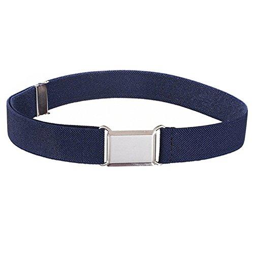 Toddlers Kids Elastic Belts For Boys-Girls Shcool Uniform Pants With Easy Buckle Adjustable Belt Straps (Navy-Blue)