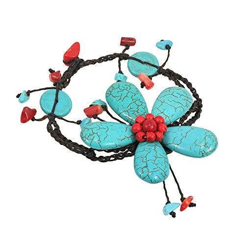 AeraVida Handmade Simulated Turquoise & Reconstructed Red Coral Large Flower Organic Bracelet by AeraVida (Image #1)