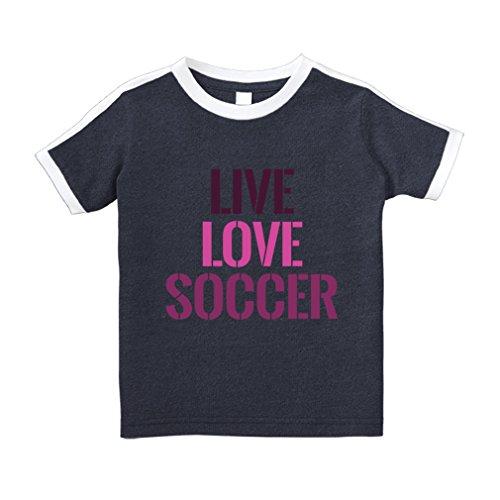 Live Love Soccer #2 Cotton Short Sleeve Crewneck Unisex Toddler T-Shirt Soccer Tee - Navy, ()