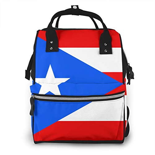 XTYND556 Waterproof Diaper Bag Flag of Puerto Rico Backpack Fashion Treasure Mother Travel Bag Baby Care Bag Large Capacity Bag Zipper Opening