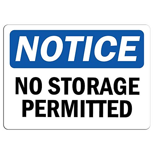 (Notice No Storage Permitted Sign Store Sign Metal Tin Sign Poster Aluminum Sign Decor for Home Bar Diner Pub)