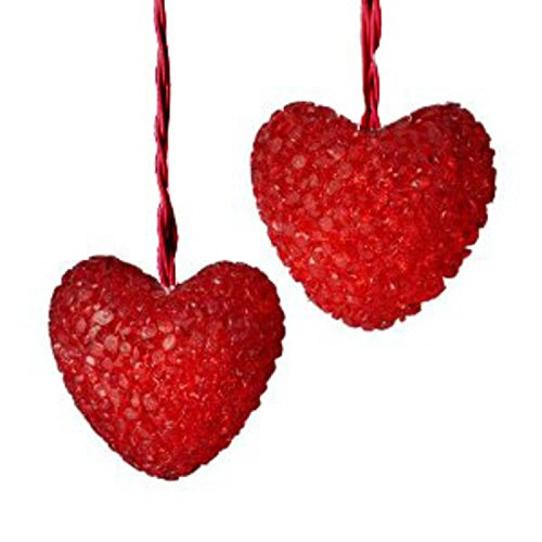 Set of 10 Red Valentines Day Heart Christmas Lights - Red - Light Set Heart
