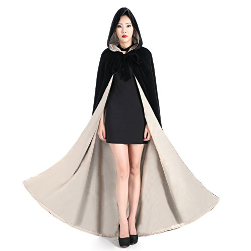 Newdeve Halloween Hooded Cloak Medieval Wedding Cape Black Robe Cosplay (Small, Black-White) (Devo Halloween Costume)