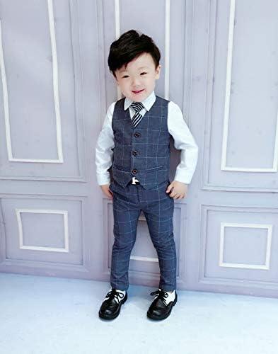 タキシード 子供スーツ チェック柄 男の子スーツ 3点セット フォーマル 発表会 入学式 スーツ キッズ 紳士服 七五三 ボーイズ 洋服