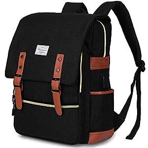 Modoker Men's and Women's Vintage Laptop Backpack Rucksack College Hiking Travel Backpacks Waterproof Computer Bag Canvas Student Bookbag Dayback Weekender with USB Charging Port 15.6 Inch, Black