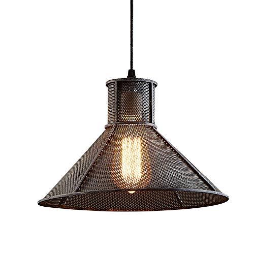 TheMonday 11.02 Inch Retro Industrial Single Head Suspension Lamp Iron Sand Net Grid Pendant Light E27 Metal Chain Adjustable Ceiling Hanging Lantern Restaurant Bar Aisle Kitchen Ceiling Chandelier