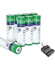 melasta 8-pack NiZn AA uppladdningsbara batterier 2 600 mWh 1,6 V AA NiZn batteri med laddare för solcellslampor digitalkamera leksaker MP4 RC bil utomhus flashmus