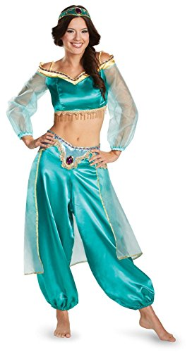 Disguise Women's Disney Aladdin Jasmine Sassy Prestige Costume, Green, Large 12-14 (Jasmine In Aladdin Costumes)